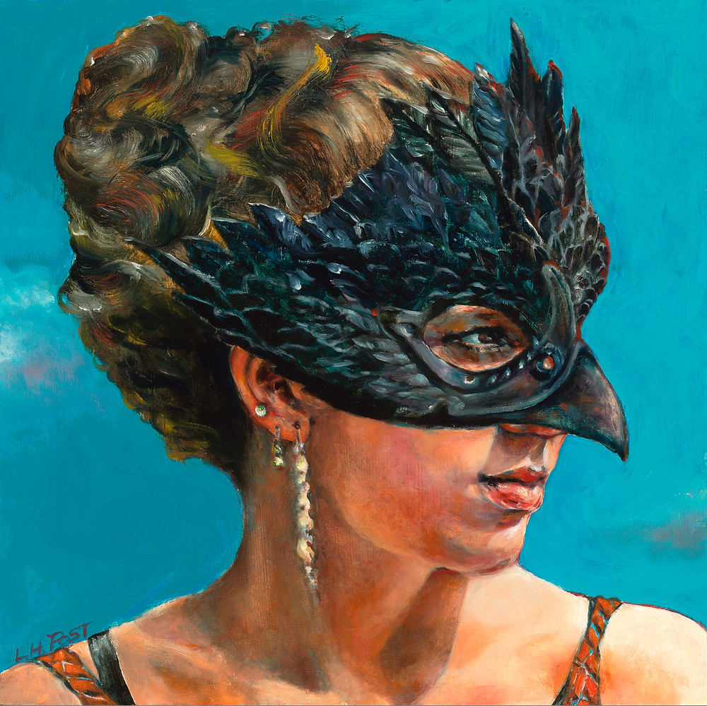 """masked girl, oil painting 12"""" x 12"""""""