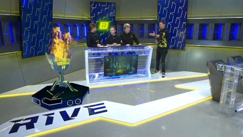 Студия Rive Esports с использованием виртуальных декораций и объектов доп. реальности