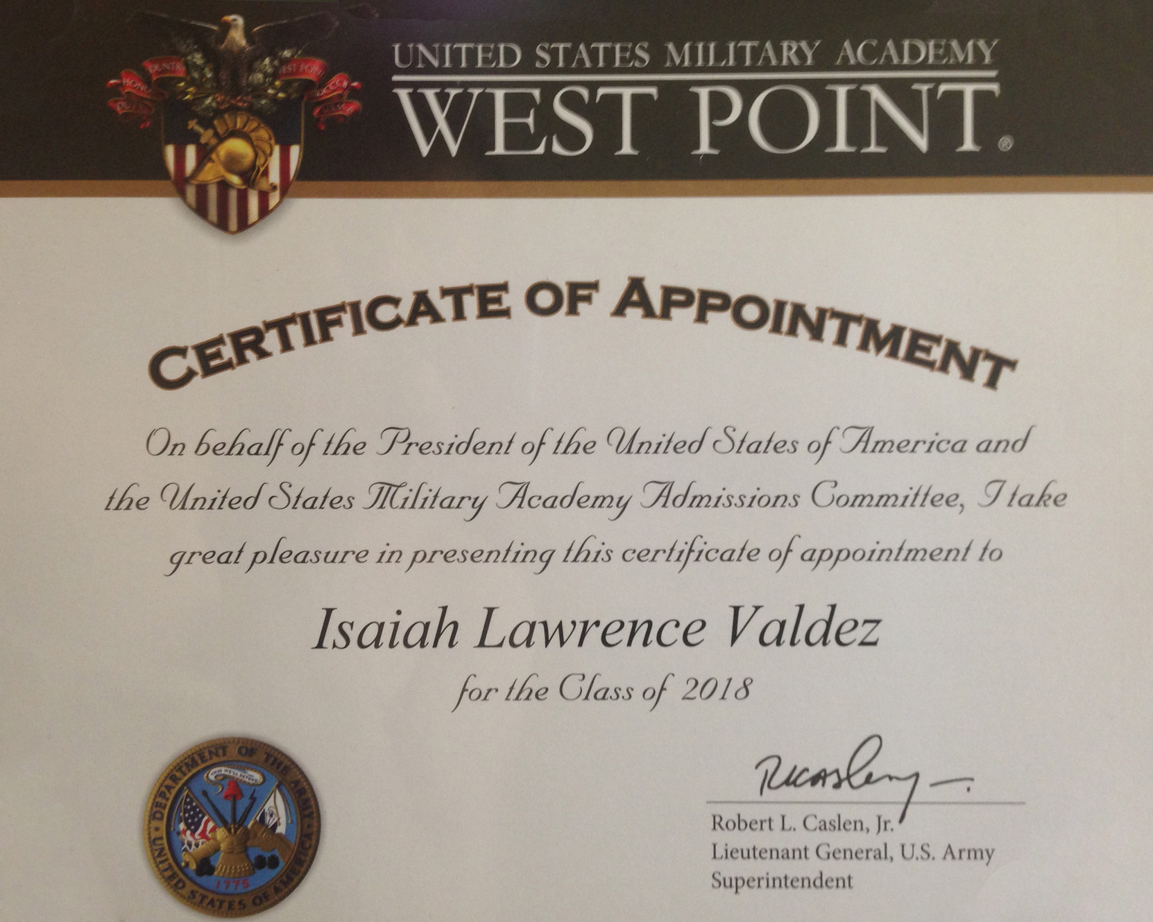 certificate appointment point academy teen military
