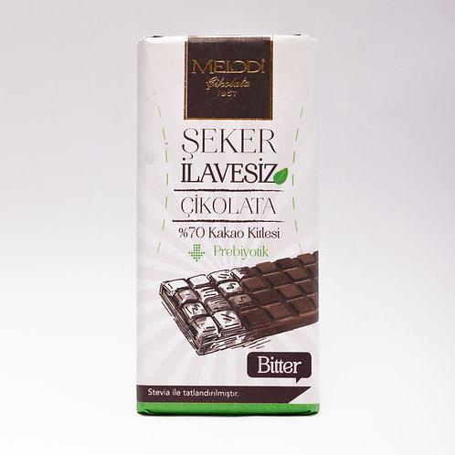 Şeker İlavesiz Prebiyotik (%70'lik) Bitter Çikolata