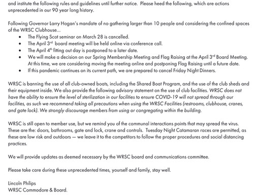 Announcement on the impacts of COVID-19 on WRSC and our Activities