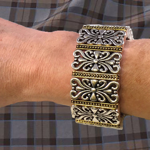 FitBit® Charge 2 Band Cover Bracelet: Hyde Scroll Gold Silver with Window