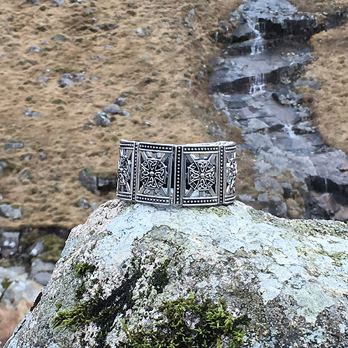FitBit® Charge 2 Band Cover: Antique Silver Celtic Cross with Window