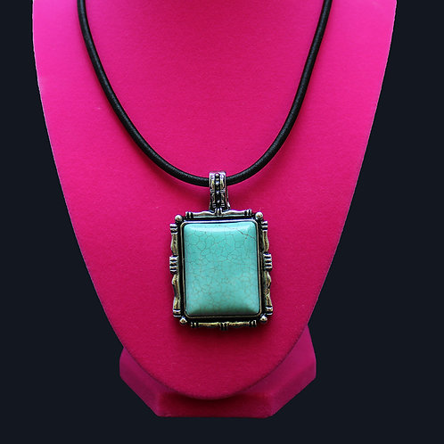 Turquoise Silver Picture Frame Necklace with Black Leather Rope