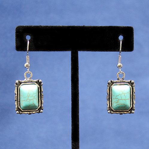Turquoise Silver Picture Frame Dangle Earrings