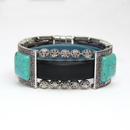 Garmin® Vivosmart Bracelet: Turquoise and Silver Greek Key with Window