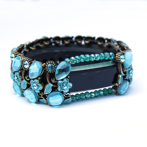 FitBit® Alta Bracelet: Absolute Aqua Crystals and Flowers with Window
