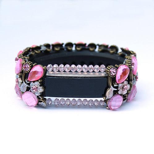 Fitbit® Alta Cover Bracelet: Pink Rosebud Crystal Flower