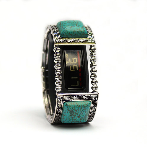 Garmin® Vivosmart HR Bracelet: Turquoise and Silver Greek Key with Window