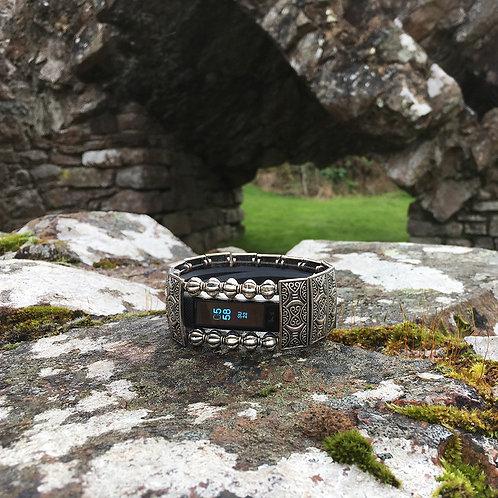 FitBit® Alta Cover Bracelet: Silver Castle Gates with Window