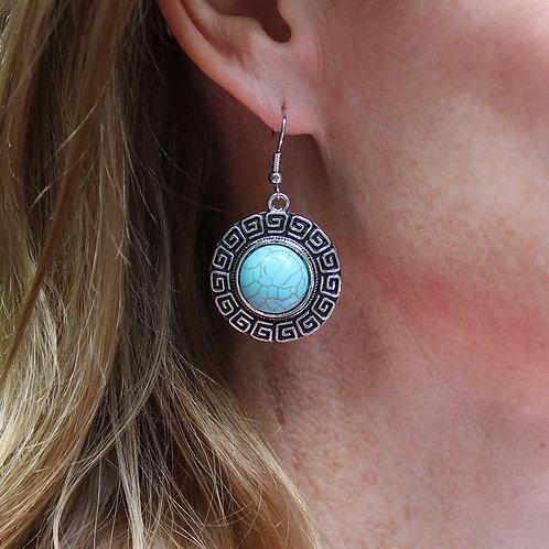Turquoise and Silver Greek Key Dangle Earrings