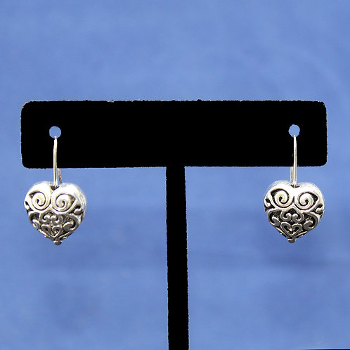 Antique Silver Heart of Hampshire Dangle Earrings with Sterling Silver Wire