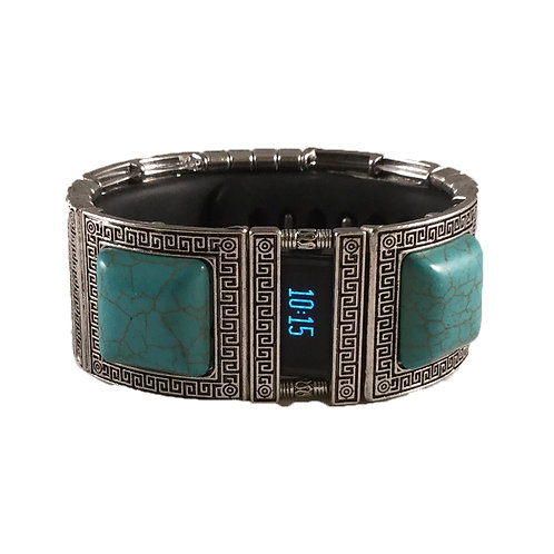 FitBit® Charge and Charge HR Cover Bracelet: Turquoise and Greek Key with Window
