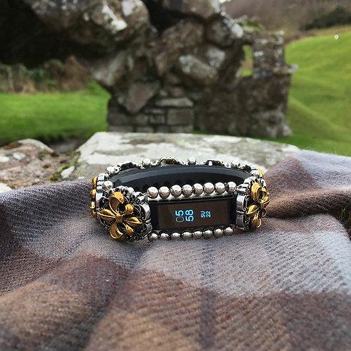 FitBit® Alta Cover Bracelet: Silver & Gold Fraser Fleur De Lis with Window
