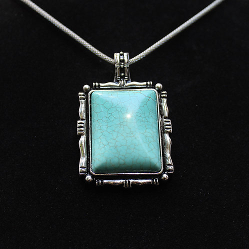 Turquoise Silver Picture Frame Necklace with Silver Chain