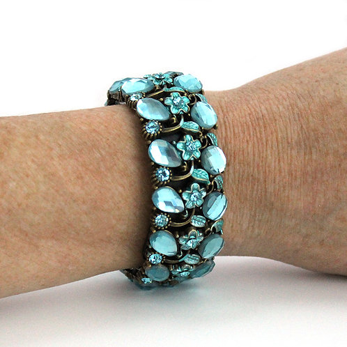 FitBit® Flex and Flex 2 Bracelet: Absolute Aqua Crystals and Flowers