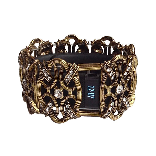 FitBit® Charge and Charge HR Cover: Windsor Knot in Antique Gold with Window