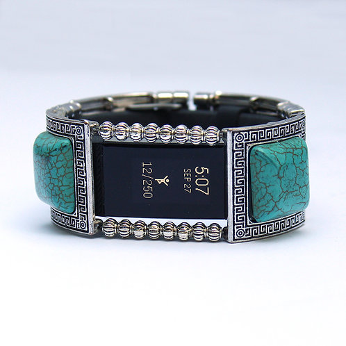 FitBit® Charge 2 Band Cover Bracelet: Turquoise and Silver Greek Key with Window