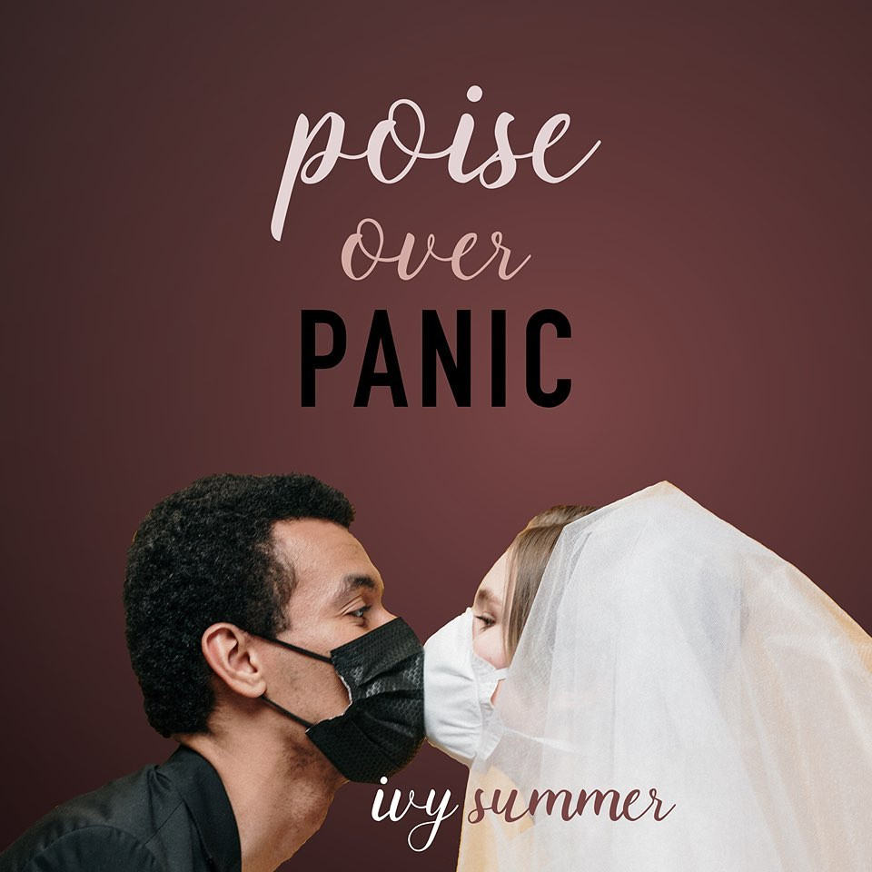 A bride and groom in wedding attire kissing with masks on underneath the title, Poise Over Panic, a book about how to plan a wedding in a pandemic.