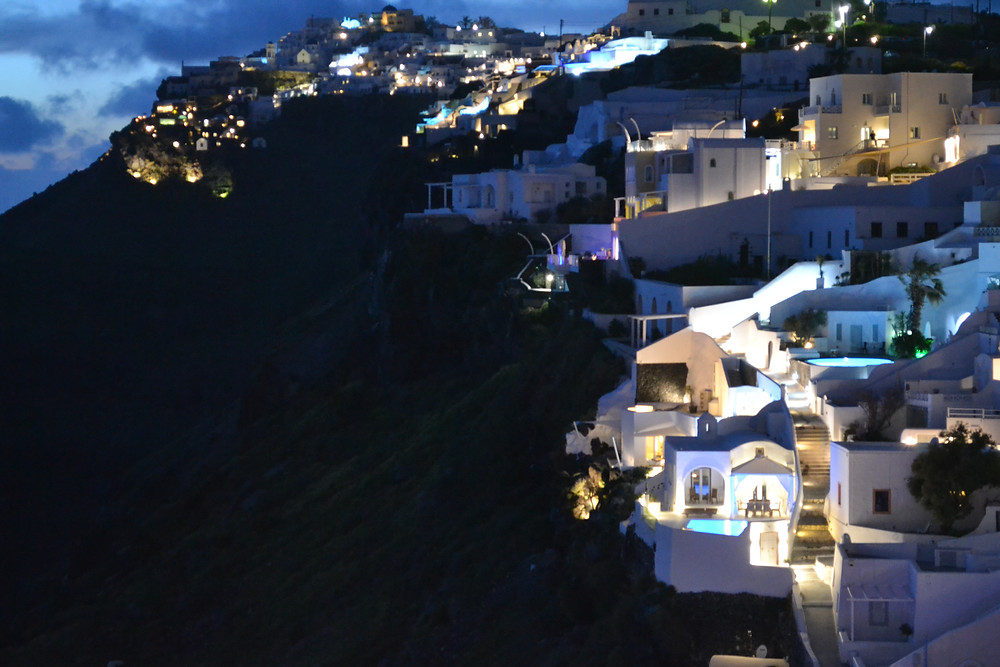 A view of Santorini after sunset