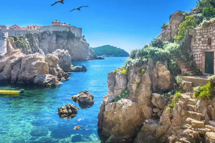 Romantic cove at daytime in Dubrovnik, Croatia