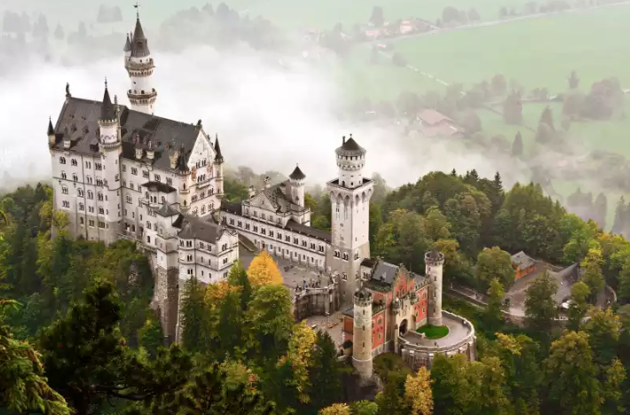 Bird's eye view of the Neuschwanstein Castle in Germany