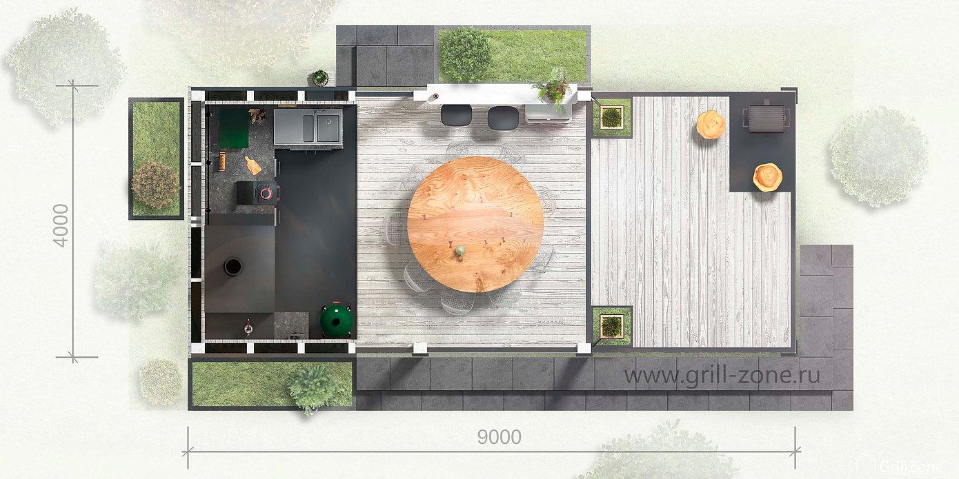 Летняя кухня-барбекю Grillzone Avignon План