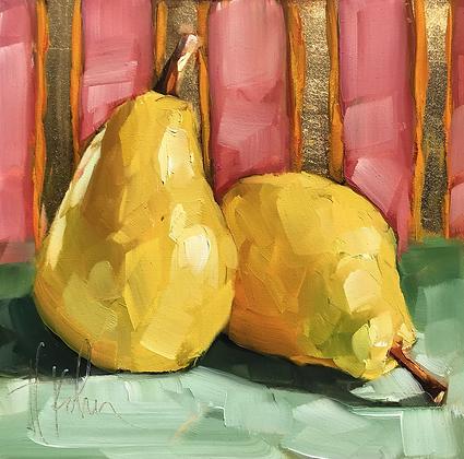 Pears w Stripes, gold foil