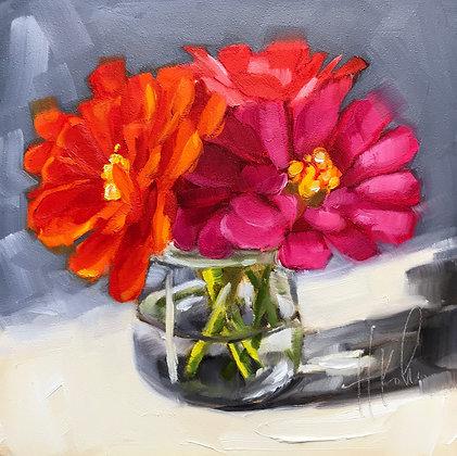 Zinnias in Vase