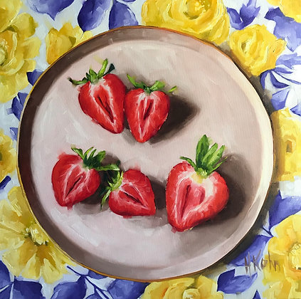Large Strawberries on Plate