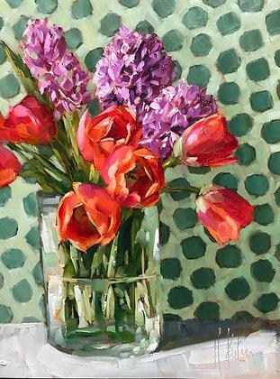 Tulips & Hyacinth, gold foil
