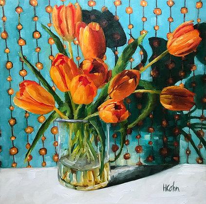 Orange Tulips & Shadow, frame