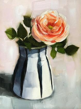 Rose in Striped Vase