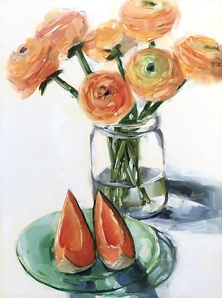 Cantaloupe & Ranunculus