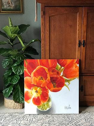 """30x30"""" Orange Tulips"""