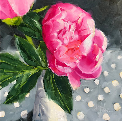 Peonies on Dots
