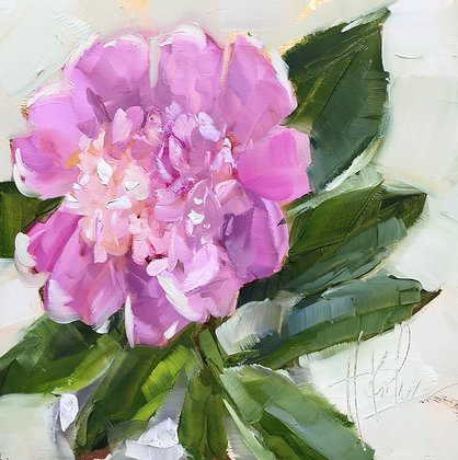 Peony, gold foil