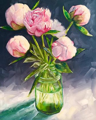 Peonies in Green Vase