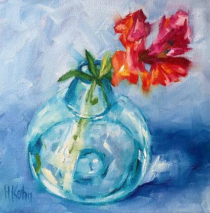 Snapdragons in Blue Vase