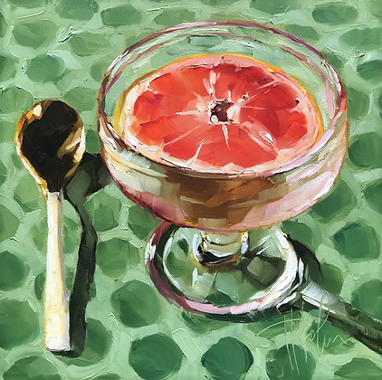 Grapefruit in Glass Dish