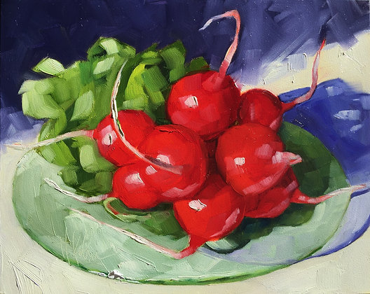 Radishes on Glass Plate