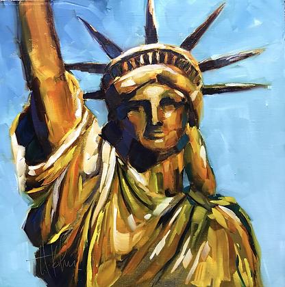 Lady Liberty, gold foil