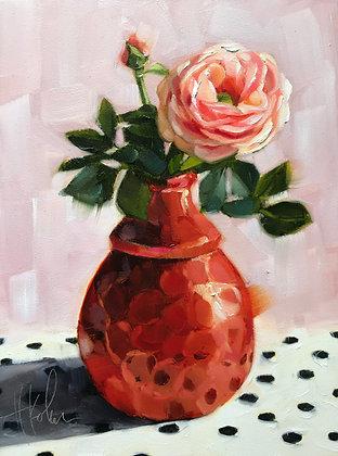 Roses in Orange Vase