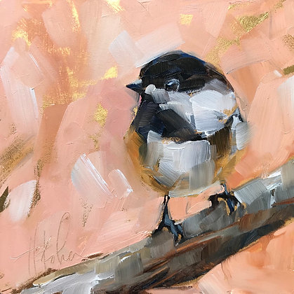 Chickadee on Gold Foil