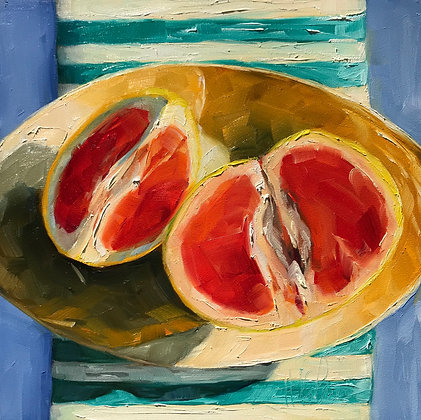 Grapefruit on Oval Plate