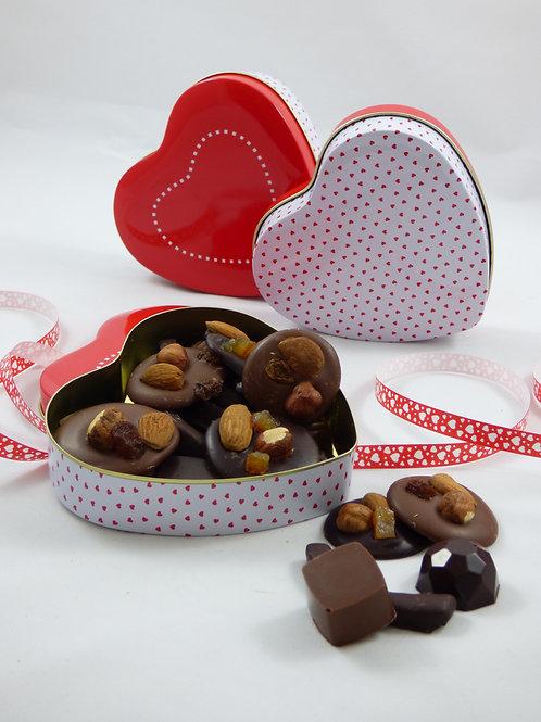 Boîte coeur garnie de chocolats