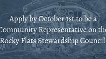 Rocky Flats Stewardship Council Applications 10/1
