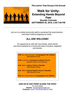 The Lemon Tree Group's 3rd Annual Walk for Unity: Extending Hands Beyond Fear Boulder Colorado SEPTE
