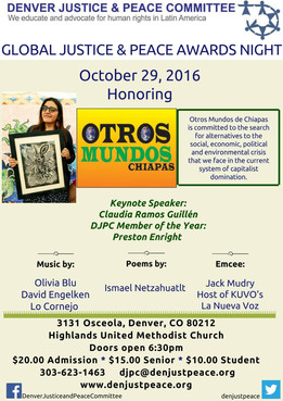 Global Justice and Peace Awards Night, October 29th