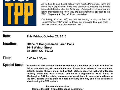 Rally to Stop the TPP at the Office of Congressman Jared Polis, Friday October 21st